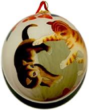World Treasure Hand Painted Glass Ornament, Cats at Play CO-167