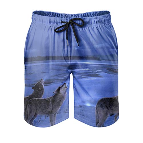kikomia Bañador para hombre Snow River Wolf Pack Lunar Noche Impresión Vintage Surf Shorts con bolsillos White XL