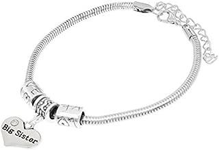 """Big Sister"" Charm Bracelets, Adorable Big Sister Heart Bracelet, Best Family Jewelry Gift"