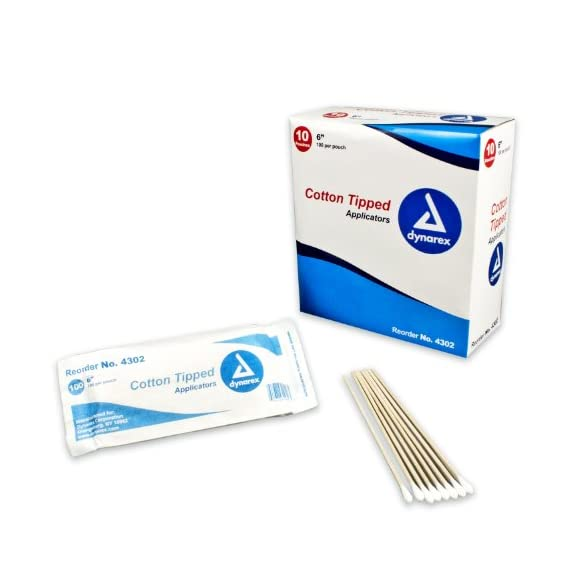 "Dynarex Cotton Tipped Wood Applicators Non-sterile 6"", 100 Count, Pack of 10 1 Used for cleansing of ears, wounds and applications of ointments & liquids Highly absorbent cotton tips Non-sterile"