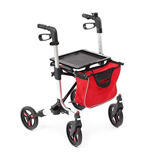 Rollator aus Aluminium | leicht | Griffhöhe höhenverstellbar | Feststellbremse | bis 135 kg belastbar | abnehmbare Einkaufstasche | faltbar | schwenkbare Räder | Leichtgewichtrollator (rot)