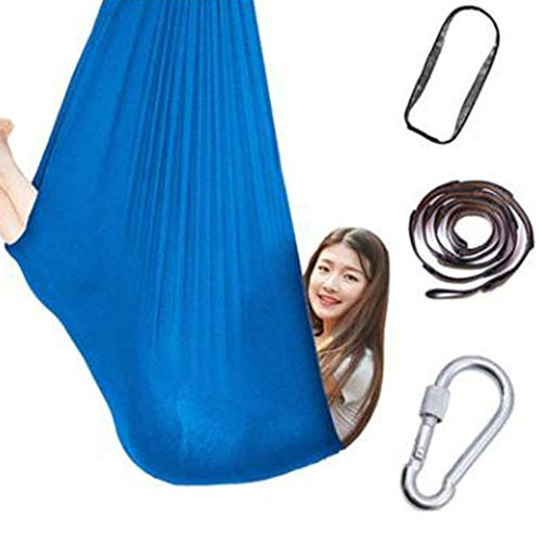 Sensory Swing for Kids, Durable Calming & Cuddle Therapy Hammock Chair for Autistic Children, Maximum Weight 440 Lbs| 200 KG (Color : Sky blue, Size : 150x280cm/59x110in)
