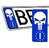 SkinoEu 2 x PVC Laminado Adhesivos Stickers Pegatinas para Placa de Matrícula UE Bandera Nacional de Italia IT Punisher Cráneo Autos Coches Motos Ciclomotores QV 42
