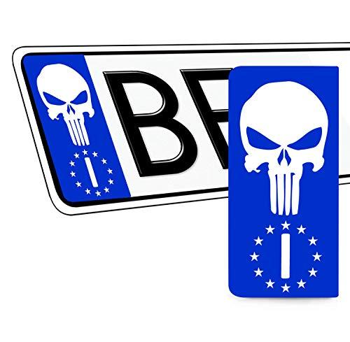 SkinoEu® 2 x Adesivi Vinile per Targa Stickers Bandiera Nazionale Italia Europa Identificazione Europeo IT Punisher Skull Teschio Cranio Auto Moto Tuning QV 42