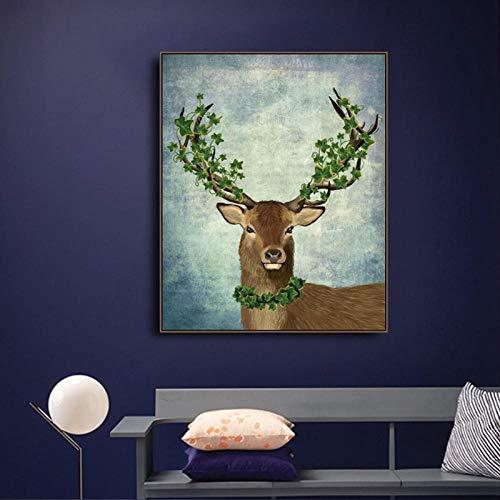Wydlb canvas kalligrafie schilderij wild dier Deer met groene bladeren poster en printen, muurkunst foto's woonkamer decor 70x90cm geen lijst