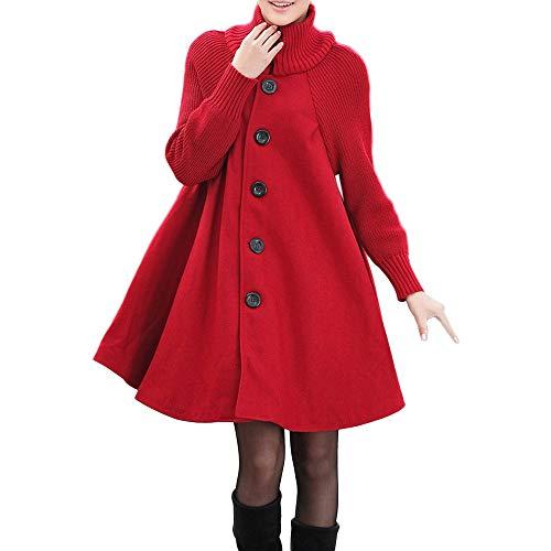 NPRADLA 2018 Herbst Frauen Mantel Winter Damen Strickjacke Lang Plus Größe Einfarbig Tasche Lose Hemdknopf Lässige(Rot,2XL)
