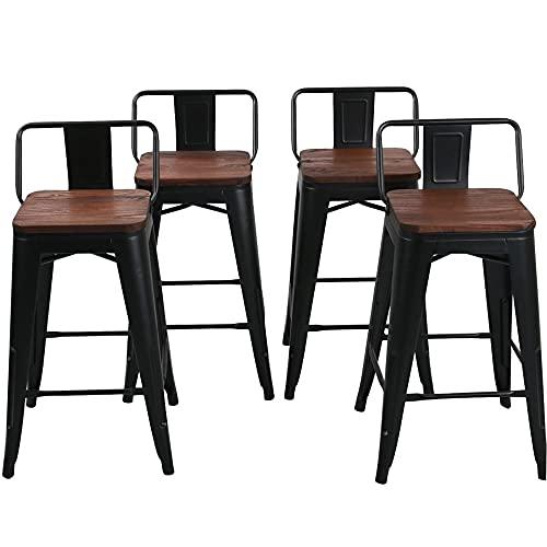 24 Inch Metal Bar Stools Counter Stool Modern Barstools Industrial Bar Stools Set of 4 (24 inch, Black)