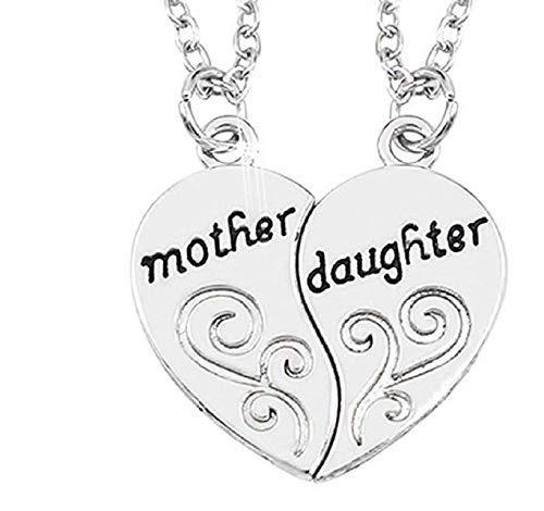 Collar con Colgante de corazón Divisible por Escrito Pareja Hija de la Madre de la Joya 2 Piezas Amistad Corazón Amigos Novios de San Valentín Regalo del día del Amor de Hija de la Madre