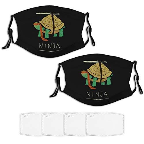 Nuberyl Schildkröte Ninja 2 Stück Gesicht Masken Set Plus 4 Austauschbare Luftfilter Waschbar Wiederverwendbare Schwarze Tuch Schal Balaclava Bandanas Frauen Männer Erwachsene