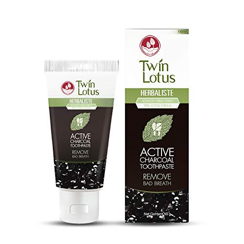TWIN LOTUS Charcoal Teeth Whitening Toothpaste Extra Whitening Activated Coconut Charcoal Toothpaste & Eliminate Bad Breath Clove Vegan Teeth Whitening Toothpaste Sensitive