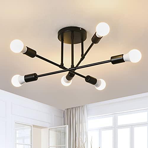 Focondot 6-Light Head Chandelier, Modern Semi Flush Mount Ceiling Light, E26 Bulb Base Minimalist Lighting, Kitchen Light Fixtures for Dining Room Living Room Bedroom Foyer Farmhouse