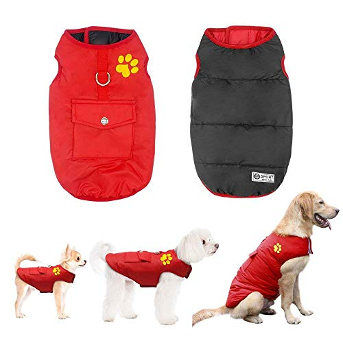 Didog Winter Waterproof Dog Vest Coats Jackets,Warm Reversible Outwear for Small Medium Large Dogs,Red,M Size