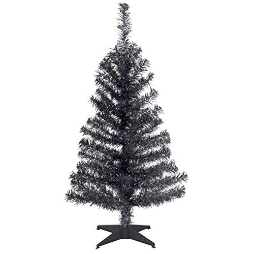 National Tree Company Artificial Christmas Tree | Includes Stand | Black Tinsel - 3 ft