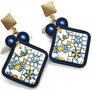 orecchini dipinti a mano, orecchini in ceramica, orecchini pendenti, orecchini artigianali, orecchini