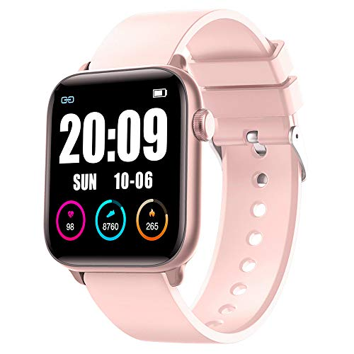 "KINGXBAR Smart Watch for Women, Waterproof IP68 1.3"" Full Touch Screen Heart Rate Smart Watch with Body Temperature Measurement Sleep and Swim Tracker, Best Fitness Gift for Mother Lover Friends"