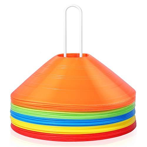 KUYOU マーカーコーン トレーニングコーン マーカーディスク ディスクコーン コンパクト サッカー 野球 テニス フットサル ボールスポーツ 練習 陸上競技 運動会 フットサル用品 収納袋付き 5色 (25本セット)