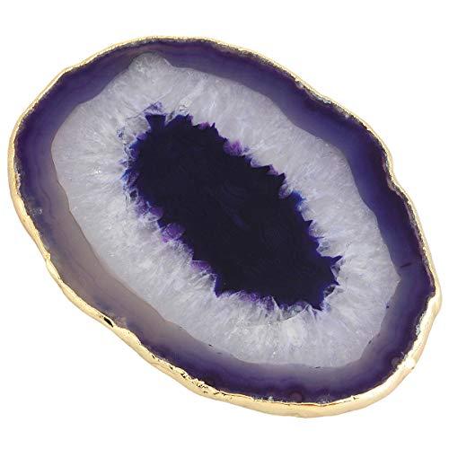 Mookaitedecor Posavasos de piedra de ágata chapado en oro para bebidas, posavasos de cristal de cuarzo, 3,1-3,9 pulgadas/juego de 2 Purple/Set of 2