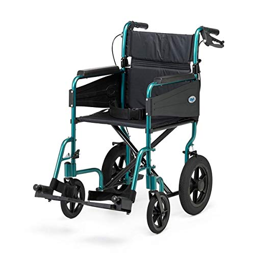 Days Escape Lite Attendant Propelled Wheelchair – Lightweight Folding Wheelchair with Removable Footrests - for Indoor and Outdoor Use (Wide, Racing Green)