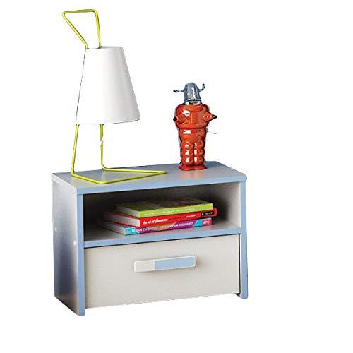 Nachtkommode weiß/blau Nachttisch Nachtkonsole Nachtschrank Nachtkästchen Nako Jungen Kinderzimmer Jugendzimmer