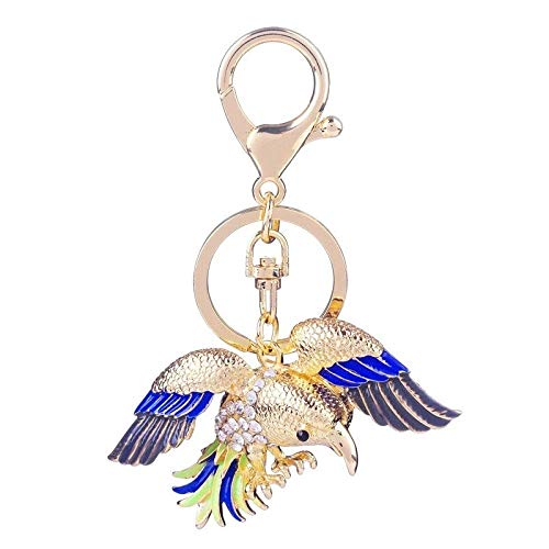 ZLININ Y-Longhair Diamantes de imitación de Eagle Llavero del pájaro Hombres de Las Mujeres de la aleación dominante Animal de la Cadena Accesorios del Coche Llaveros