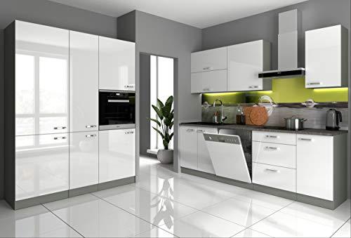 Küche Vario I 240 + 160 cm Küchenzeile in Hochglanz weiß Küchenblock Einbauküche