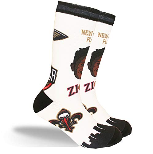 PKWY NBA Unisex Zion Williamson Pelicans #1 1-Pack Pins Player Crew Socks (Large (Mens 6-12/Womens 7-13))