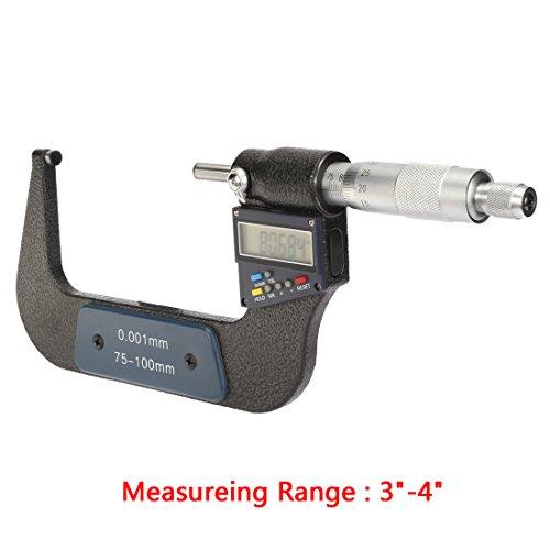 sourcingmap® Pantalla LCD electrónica 3-pulgadas - 4 pulgadas /75mm-100mm Digital Micrómetro exterior