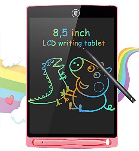 BIGFOX Tavoletta Grafica Bambini LCD Scrittura 8,5 con Display Colorato, Elettronica Lavagna Cancellabile Bambini Tavolo da Disegno Portatile con Scheda Elettronica con Pulsante Elimina(Rosa)