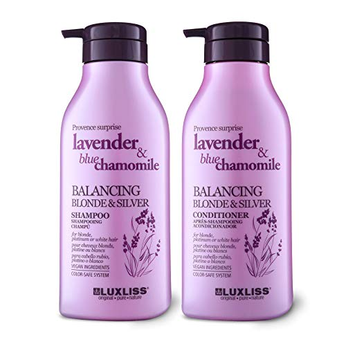 LUXLISS Purple Shampoo and Conditioner for Blonde Hair, Natural Organic Sulfate Free Shampoo Set with Lavender Oil & Blue Chamomile Safe for Platinum/Bleached/Silver/Brown Color Treated Hair,2 x16.9Oz