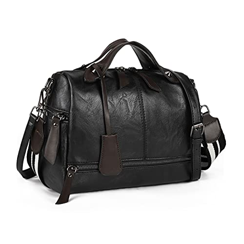 Medium Satchel Bags for Women Pu Leather Crossbody Purse,Travel Shoulder Handbags with Top Handle and Wide Strap,Multi Pockets
