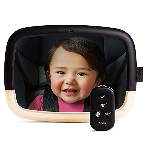 Munchkin Espejo para el Coche Pivotante con Luz Nocturna Baby In-Sight, con Pruebas de Choque Superadas e Inastillable, Grupo 0 0 + 1 2, Unisex