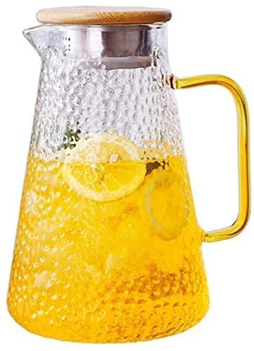 Tetera Tetera Taza 1,6 l / litro jarra de vidrio con tapa Jarra jugo de borosilicato tetera de la resistencia térmica del envase del pote de cristal Jarra Adecuado for Jugo de fruta en frío 100% BPA (