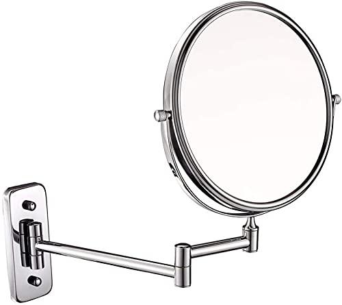HUAQINEI Espejo de Maquillaje Montado en la Pared Lupa Resistente Afeitado cosmético Ajustable de Doble Cara Maquillaje Afeitado Extensible en Dormitorio o baño (Color: 6 Pulgadas, Tamaño: 10X)