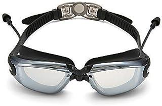 XFSE - XFSE Gafas de sol para el hogar, gafas de natación planas, caja grande, tapones para los oídos, anillo de espejo de silicona (color: negro) (color: negro)