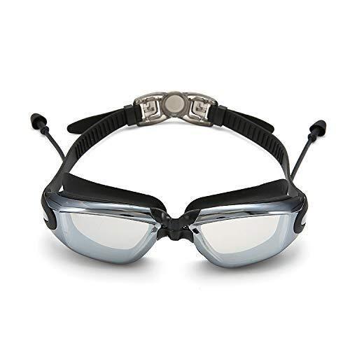 ZHHk Gafas de Sol Chapado en el hogar Gafas de natación Planas Caja Grande Tapones for los oídos Memoria Espejo de Silicona (Color: Negro) (Color : Black)