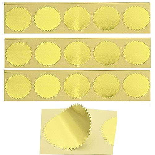MDLG 100pcs Embossing Stickers Blank Metallic Gold Certificate Seals Embossed Foil Stickers Scallop Edge Stickers Embosser Stamp Sealing Blank Certificate Self-Adhesive Stickers Notary Seals(Gold)