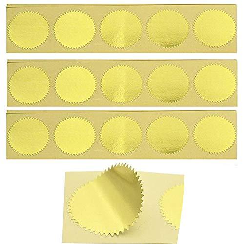 MDLG 100 Stück Gold Vintage Prägung Stempel Siegelstempel Blanko Zertifikat selbstklebende Aufkleber (Gold)