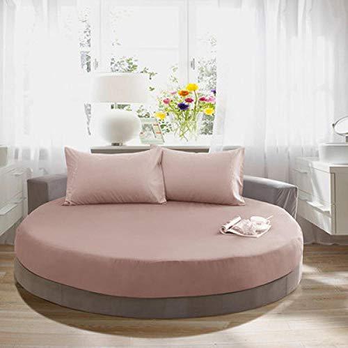 CYYyang Funda de colchón Anti chinches, Transpirable, Funda de Cama Redonda de algodón Puro-Café Color_2.2m