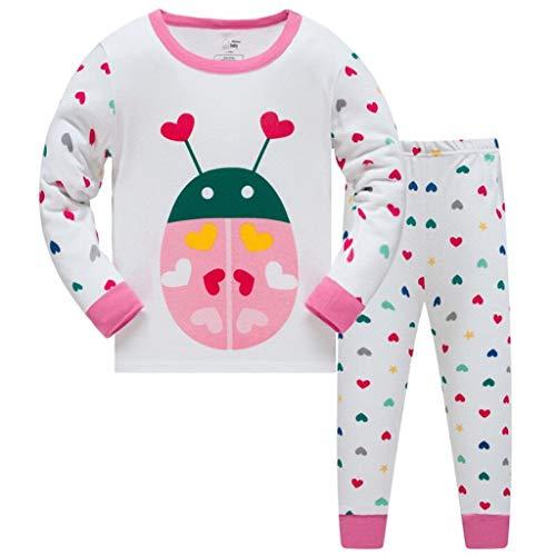 HIKIDS Pijama para niñas Pijama niñas Invierno Pijamas de Mariquita para niñas-Manga Larga niñas Ropa de algodón Traje Dos Set 2-8 Años