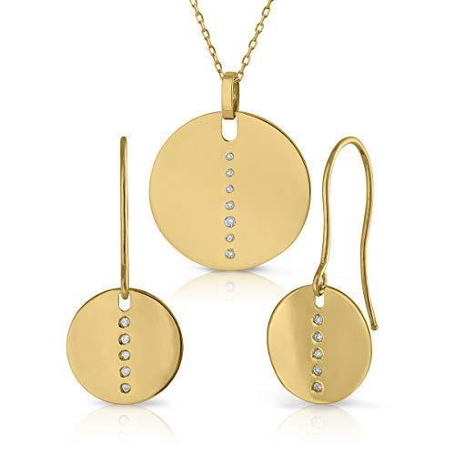 ROSA DI MANUEL Set en Oro 18k con Diamantes Conjunto Juego de Gargantilla Collar y Pendientes. con Cierre de presión. En Diamantes de Calidad. Elija su Modelo. (DISEÑO Londres)