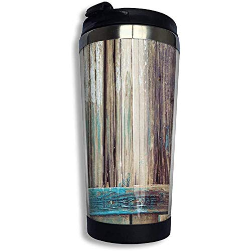huatongxin Tumbler Cup Vacuum Insulated,Water/Coffee Mug,Men/Women Travel Cup with Spill Proof Lid,Brown Teal Rustic Aged Shed Door Country Stainless Steel Coffee Cup for Home,Office,Camping 13.5OZ