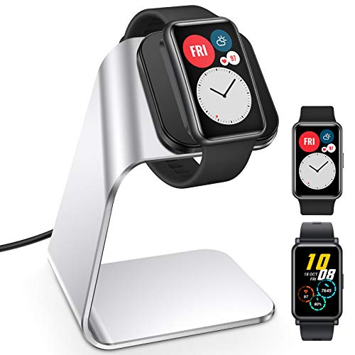 KIMILAR Ladegerät Kompatibel mit Huawei Watch Fit/Honor Band 6/ Honor Watch ES Ladestation, Prämie Aluminium 3.3ft USB Ladekabel Charger Dock Kompatibel mit Huawei Watch Fit Smartwatch (Silber)