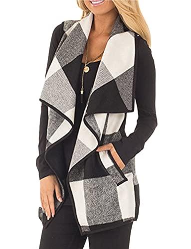 YACUN Women Vest Lapel Open Front Buffalo Plaid Sleeveless Cardigan Jacket Coat with Pockets Black M