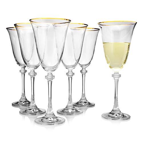 Weinglas mit goldfarbenem Rand und Diamant-Dekor, 6 Stück, splitterfest & kristallklar, 100 % bleifrei, europäische Qualität & Luxus-Standard, 350 ml