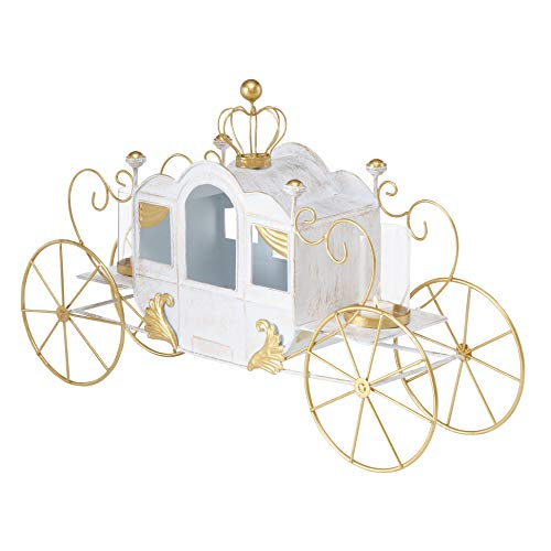Cinderella Carriage Candle Holder, Princess Style Centerpiece, White and Gold Iron, Lacquered Details, Tealight Holders, Glass Sleeves, 25.5 L x 7.0 W x 16.25 H Inches (Not a Toy)
