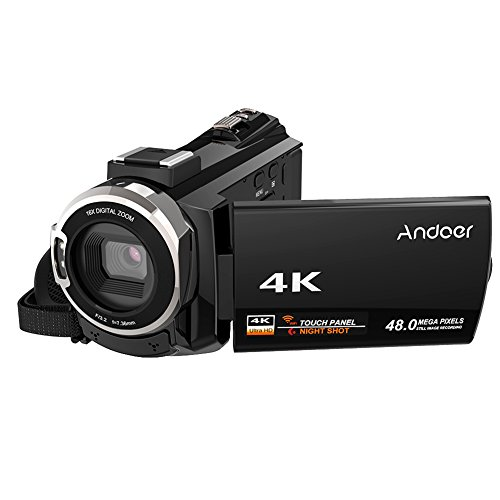 4K Camcorder,Andoer 1080P 48MP WiFi Digital Video Camera Recorder with Novatek 96660 Chip 3inch Capacitive Touchscreen IR Infrared Night Sight 16X Zoom Cold Shoe Support External Microphone