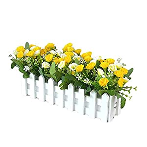 wintefei Vivid Color,Party Decor,Beautiful,Non-Fading,Wooden Fence Homer Decor 1 Bouquet Artificial Carnation Flower Wooden Fence DIY Stage Party Holiday Decor – Yellow