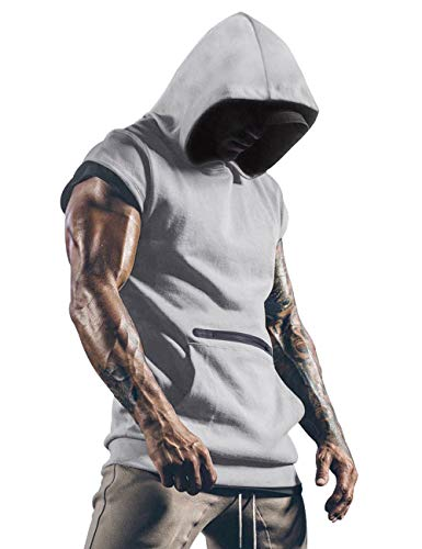 Lomon Tank Top Herren Sport Ärmellos Hoodie Fitness Muskelshirt Für Gym Workout Bodybuilding Unterhemden Grau L
