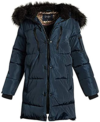 Jessica Simpson Women's Nylon Puffer Long Jacket with Fur Lined Hood, Size Medium, Navy' from