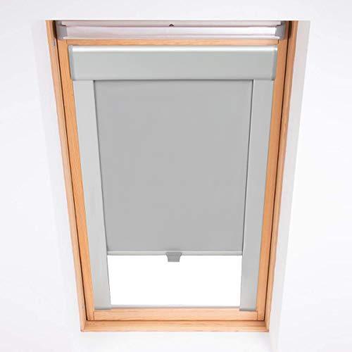 KINLO Dachfensterrollo Verdunkelungsrollo Thermo Sonnenschutz für Velux Fenstersysteme Dachfenster Verschiedene Größen Fenstertypen : GGL, GPL, GHL, GTL, GXL (204-50.7x77.4cm, Grau)